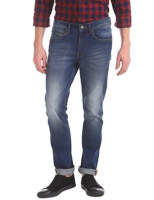 Skinny Fit Stone Wash Jeans2