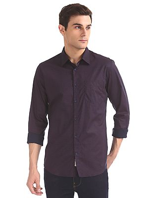 Slim Fit Spread Collar Shirt