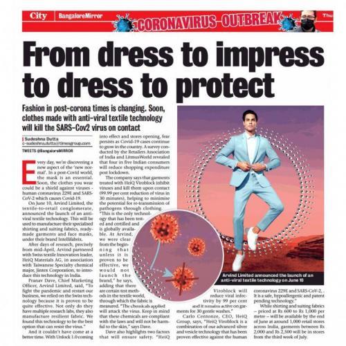 Bangalore Mirror  - 6/11/2020